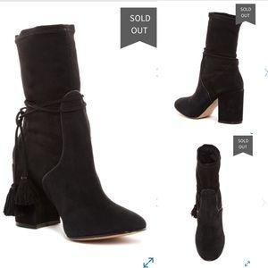 NWOB Rachel Zoe suede wrap tassel boho ankle boots